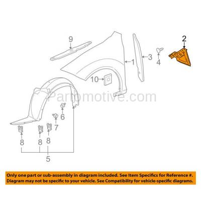 Aftermarket Replacement - FDS-1020L & FDS-1020R 05-10 Chevy Cobalt Front Fender Brace Support Bracket Left & Right Side SET PAIR - Image 3