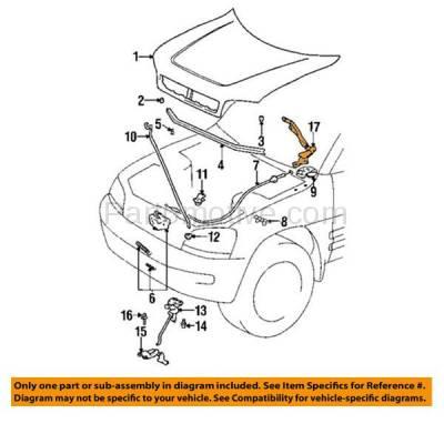 Aftermarket Replacement - HDH-1178R 1996-2000 Toyota RAV4 (Base) Sport Utility 2-Door & 4-Door (Electric & 2.0 Liter Engine) Front Hood Hinge Bracket Made of Steel Right Passenger Side - Image 3