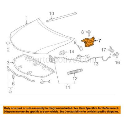 Aftermarket Replacement - HDH-1183R 2012-2014 Toyota Camry (Hybrid, L, LE, SE, XLE) Sedan 4-Door (2.5 & 3.5 Liter Engine) Front Hood Hinge Bracket Made of Steel Right Passenger Side - Image 3