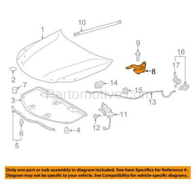 Aftermarket Replacement - HDH-1179R 2013-2018 Toyota Avalon (Sedan 4-Door) (2.5 & 3.5 Liter Engine) Front Hood Hinge Bracket Made of Steel Right Passenger Side - Image 3