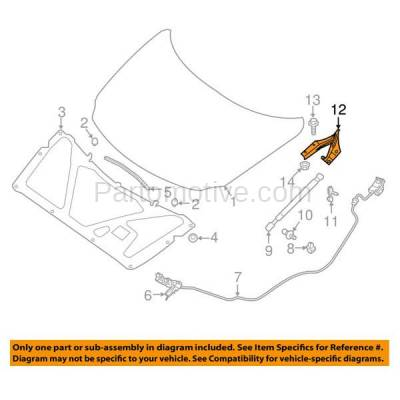 Aftermarket Replacement - HDH-1138R 2016-2018 Nissan Maxima (Platinum, S, SL, SR, SV) (3.5 Liter V6 Engine) Front Hood Hinge Bracket Made of Steel Right Passenger Side - Image 3