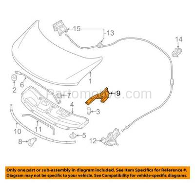 Aftermarket Replacement - HDH-1143L 2011-2017 Nissan Quest (LE, Platinum, S, SL, SV) Passenger Van 4-Door (3.5L) Front Hood Hinge Bracket Made of Steel Left Driver Side - Image 3