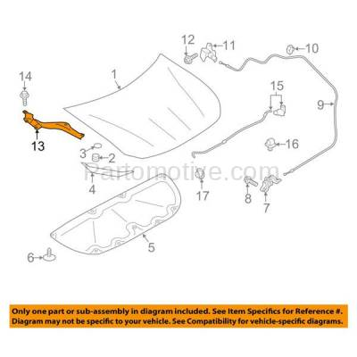 Aftermarket Replacement - HDH-1160L 2013-2016 Scion FR-S & 2017-2018 Toyota 86 (Base & Special Edition) Coupe 2-Door (2.0 Liter Engine) Front Hood Hinge Bracket Left Driver Side - Image 3