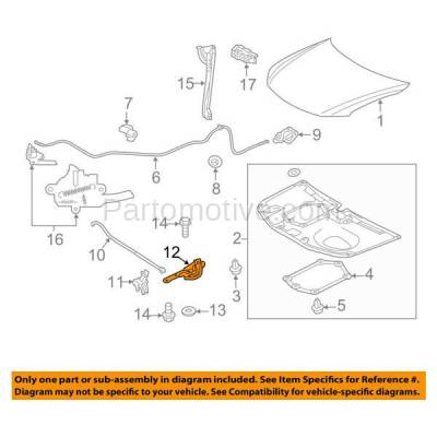 Aftermarket Replacement - HDH-1161R 2011 2012 2013 2014 2015 2016 Scion tC (Base) Coupe 2-Door (2.5 Liter Engine) Front Hood Hinge Bracket Made of Steel Right Passenger Side - Image 3