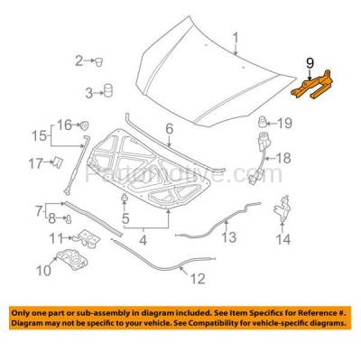 Aftermarket Replacement - HDH-1107R 2006-2011 Kia Rio & Rio5 (Hatchback & Sedan 4-Door) (1.6 Liter Engine) Front Hood Hinge Bracket Made of Steel Right Passenger Side - Image 3
