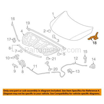 Aftermarket Replacement - HDH-1108L 2011-2015 Kia Sorento (Base, EX, Limited, LX, SX) (2.4 & 3.3 & 3.5 Liter Engine) Front Hood Hinge Bracket Made of Steel Left Driver Side - Image 3