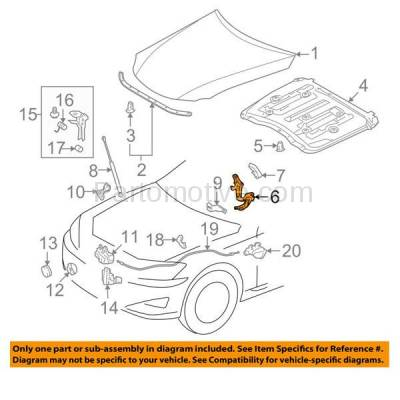 Aftermarket Replacement - HDH-1111R 2006-2013 Lexus IS250/IS350 & 2010-2015 IS250C/IS350C (2.5 & 3.5 Liter V6 Engine) Front Hood Hinge Bracket Steel Right Passenger Side - Image 3