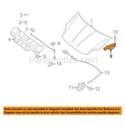 Aftermarket Replacement - HDH-1151L 2007-2012 Nissan Sentra (Sedan 4-Door) (2.0 & 2.5 Liter Engine) Front Hood Hinge Bracket Made of Steel Left Driver Side - Image 3