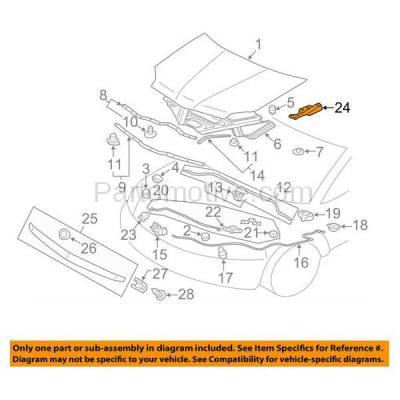 Aftermarket Replacement - HDH-1136R 2001-2005 Chrysler Sebring & Dodge Stratus & 2000-2012 Mitsubishi Eclipse & 2004-2011 Endeavor & 1999-2012 Galant Hood Hinge Right Passenger Side - Image 3
