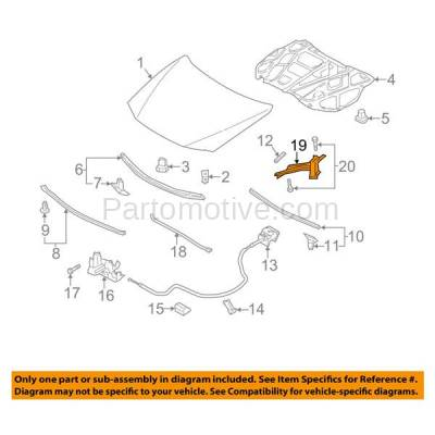 Aftermarket Replacement - HDH-1117L 2012-2017 Mazda 5 (Grand Touring, GS, GT, Sport, Touring) (2.5 Liter Engine) Front Hood Hinge Bracket Made of Steel Left Driver Side - Image 3