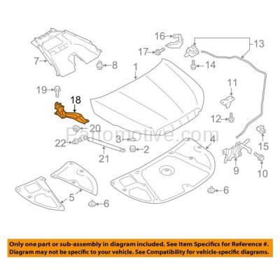 Aftermarket Replacement - HDH-1166L 2014-2018 Subaru Forester (Wagon 4-Door) (2.0 & 2.5 Liter Engine) Front Hood Hinge Bracket Made of Steel Left Driver Side - Image 3