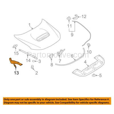Aftermarket Replacement - HDH-1167L 2009-2013 Subaru Forester X/XT (Convenience, Limited, Premium, Touring) Front Hood Hinge Bracket Made of Steel Left Driver Side - Image 3