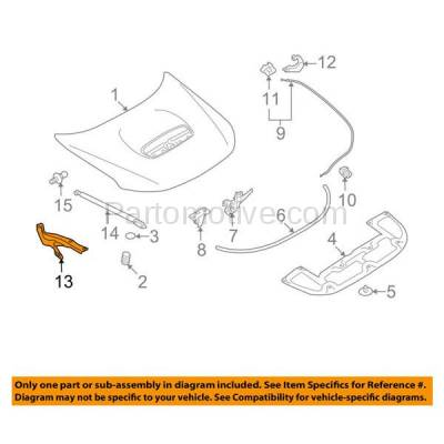 Aftermarket Replacement - HDH-1167R 2009-2013 Subaru Forester X/XT (Convenience, Limited, Premium, Touring) Front Hood Hinge Bracket Made of Steel Right Passenger Side - Image 3