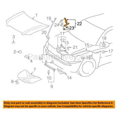 Aftermarket Replacement - HDH-1114L 2003-2009 Lexus GX470 & 1999-2003 RX300 & 2003-2005 Toyota 4Runner & 2001-2007 Highlander Front Hood Hinge Bracket Steel Left Driver Side - Image 3