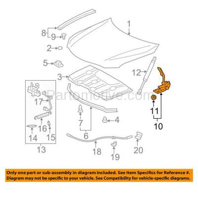 Aftermarket Replacement - HDH-1170L 2007-2011 Toyota Camry (2.4 & 2.5 & 3.5 Liter Engine) (Models Made in USA) Front Hood Hinge Bracket Made of Steel Left Driver Side - Image 3