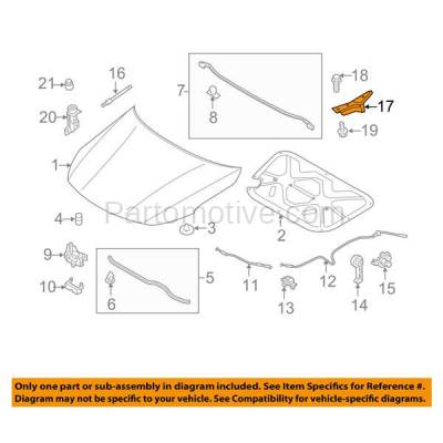 Aftermarket Replacement - HDH-1106L 2011-2016 Kia Optima (Hybrid, EX, EX Luxury, Limited, LX, SX, SX Turbo, SXL) Front Hood Hinge Bracket Made of Steel Left Driver Side - Image 3