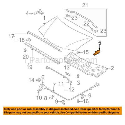 Aftermarket Replacement - HDH-1122L 2000-2006 Mazda MPV (Mini Passenger Van 3/4-Door) (2.5 & 3.0 Liter V6 Engine) Front Hood Hinge Bracket Made of Steel Left Driver Side - Image 3