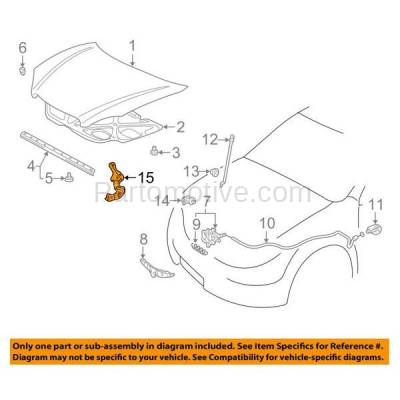 Aftermarket Replacement - HDH-1171R 2003-2008 Toyota Corolla & Matrix (Sedan & Wagon 4-Door) (1.8 Liter Engine) Front Hood Hinge Bracket Made of Steel Right Passenger Side - Image 3