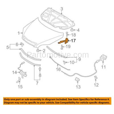 Aftermarket Replacement - HDH-1121R 2004-2009 Mazda 3 (Hatchback & Sedan 4-Door) (Hatchback Models without Turbo) Front Hood Hinge Bracket Steel Right Passenger Side - Image 3