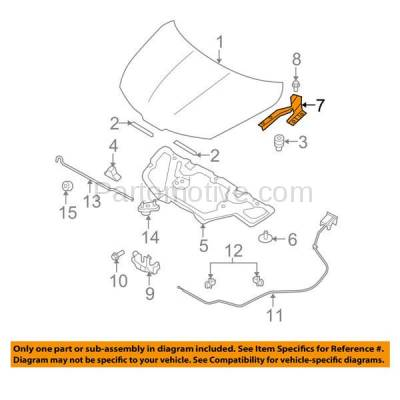 Aftermarket Replacement - HDH-1153R 2007-2012 Nissan Versa (Hatchback & Sedan 4-Door) (1.6 & 1.8 Liter Engine) Front Hood Hinge Bracket Made of Steel Right Passenger Side - Image 3