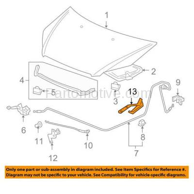 Aftermarket Replacement - HDH-1081R 2007-2012 Acura RDX & 2005-2010 Honda Odyssey (2.3 & 3.5 Liter Engine) Front Hood Hinge Bracket Made of Steel Right Passenger Side - Image 3