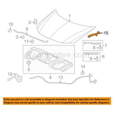 Aftermarket Replacement - HDH-1082L 2012-2015 Honda Civic (Coupe, Sedan) (1.5 & 1.8 & 2.4 Liter Engine) Front Hood Hinge Bracket Made of Steel Left Driver Side - Image 3