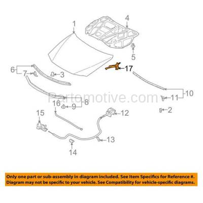 Aftermarket Replacement - HDH-1128R 2003-2008 Mazda 6 Hatchback, Sedan, Wagon (2.3 & 3.0 Liter Engine) (Non-Turbo) Front Hood Hinge Bracket Right Passenger Side - Image 3
