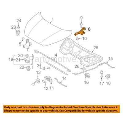 Aftermarket Replacement - HDH-1096L 2010-2015 Hyundai Tucson (GL, GLS, L, Limited, SE) (2.0 & 2.4 Liter Engine) Front Hood Hinge Bracket Made of Steel Left Driver Side - Image 3