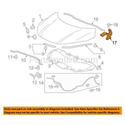 Aftermarket Replacement - HDH-1074L 2016-2018 Honda HR-V (EX, EX-L, LX) Sport Utility 4-Door(1.8 Liter Engine) Front Hood Hinge Bracket Made of Steel Left Driver Side - Image 3