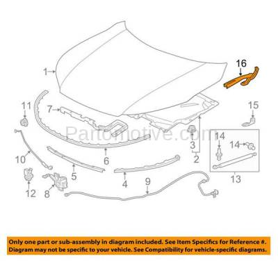 Aftermarket Replacement - HDH-1080R 2013-2017 Honda Accord (Coupe & Sedan) (2.0 & 2.4 & 3.5 Liter Engine) Front Hood Hinge Bracket Made of Steel Right Passenger Side - Image 3