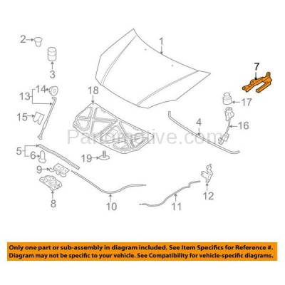 Aftermarket Replacement - HDH-1100R 2006-2012 Hyundai Accent (1.6 Liter Engine) (2012 Year Models for Hatchback Only) Front Hood Hinge Bracket Steel Right Passenger Side - Image 3
