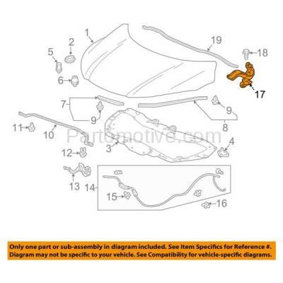 Aftermarket Replacement - HDH-1074R 2016-2018 Honda HR-V (EX, EX-L, LX) Sport Utility 4-Door(1.8 Liter Engine) Front Hood Hinge Bracket Made of Steel Right Passenger Side - Image 3