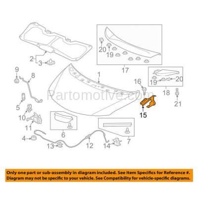Aftermarket Replacement - HDH-1075L 2015-2019 Honda Fit (DX, EX, EX-L, LX, SE, Sport) Hatchback 4-Door (1.5 Liter Engine) Front Hood Hinge Bracket Steel Left Driver Side - Image 3