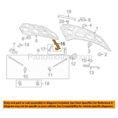 Aftermarket Replacement - HDH-1057R 2007-2011 Chevrolet Aveo & 2009-2011 Aveo5 & 2009-2010 Pontiac G3 & 2010 G3 Wave Front Hood Hinge Bracket Made of Steel Right Passenger Side - Image 3