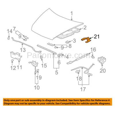 Aftermarket Replacement - HDH-1087L 2003-2007 Honda Accord & 2004 Acura TL (Coupe, Sedan) (2.4 & 3.0 & 3.2 Liter Engine) Front Hood Hinge Bracket Steel Left Driver Side - Image 3