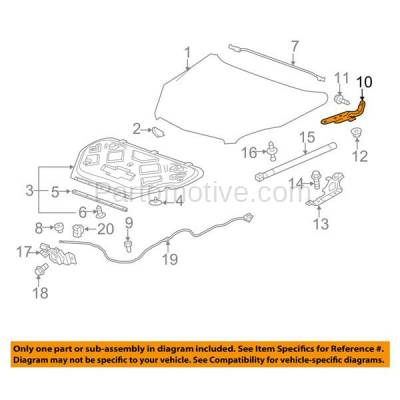 Aftermarket Replacement - HDH-1054L 2010-2017 Chevrolet Equinox & GMC Terrain (Upper Hood Mount) Front Hood Hinge Bracket Made of Steel Left Driver Side - Image 3