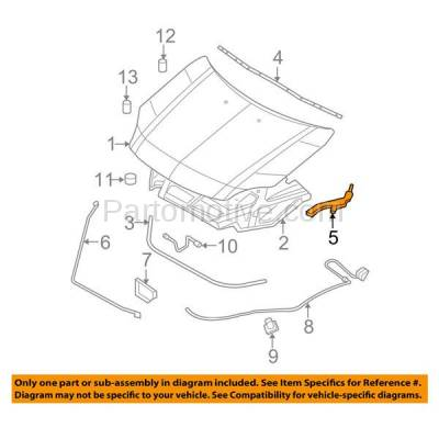 Aftermarket Replacement - HDH-1033R 2006-2012 Ford Fusion & 2006-2011 Mercury Milan (Base, Hybrid, Premier, S, SE, SEL, Sport) Front Hood Hinge Bracket Steel Right Passenger Side - Image 3