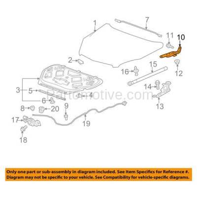 Aftermarket Replacement - HDH-1054R 2010-2017 Chevrolet Equinox & GMC Terrain (Upper Hood Mount) Front Hood Hinge Bracket Made of Steel Right Passenger Side - Image 3