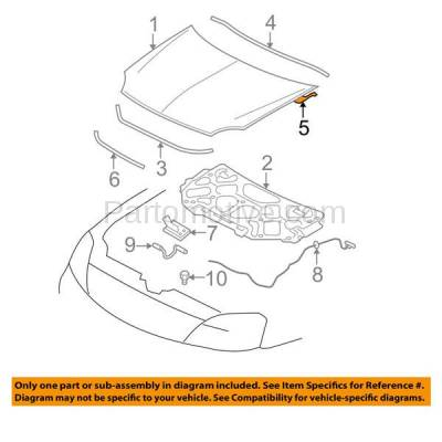 Aftermarket Replacement - HDH-1034L 2005 2006 2007 Ford Five Hundred, Freestyle, Mercury Montego & 2008 2009 Taurus, Taurus X Front Hood Hinge Bracket Made of Steel Left Driver Side - Image 3