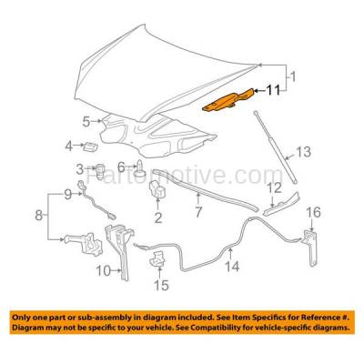 Aftermarket Replacement - HDH-1055L 2006-2013 Chevrolet Impala & 2014-2016 Impala Limited & 2006-2007 Monte Carlo (Upper Hood Mount) Front Hood Hinge Bracket Left Driver Side - Image 3