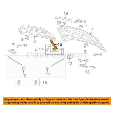 Aftermarket Replacement - HDH-1057L 2007-2011 Chevrolet Aveo & 2009-2011 Aveo5 & 2009-2010 Pontiac G3 & 2010 G3 Wave Front Hood Hinge Bracket Made of Steel Left Driver Side - Image 3