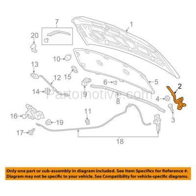Aftermarket Replacement - HDH-1059L 2012-2019 Chevrolet Sonic (LS, LT, LTZ, Premier, RS) (1.4 & 1.6 & 1.8 Liter Engine) Front Hood Hinge Bracket Made of Steel Left Driver Side - Image 3