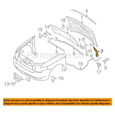 Aftermarket Replacement - HDH-1030R 2007-2014 Ford Edge & 2009-2018 Flex & 2007-2015 Lincoln MKX Front Hood Hinge Bracket Made of Steel Right Passenger Side - Image 3