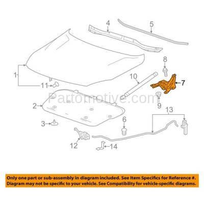 Aftermarket Replacement - HDH-1050L 2013-2015 Chevrolet Malibu & 2016 Malibu Limited (Eco, LS, LT, LTZ) (2.0 & 2.5 Liter Engine) Front Hood Hinge Bracket Steel Left Driver Side - Image 3