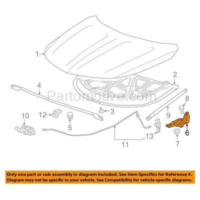 Aftermarket Replacement - HDH-1051L 2014-2018 Chevrolet Impala (Eco, LS, LT, LTZ, Premier) (2.4 & 2.5 & 3.6 Liter Engine) Front Hood Hinge Bracket Made of Steel Left Driver Side - Image 3