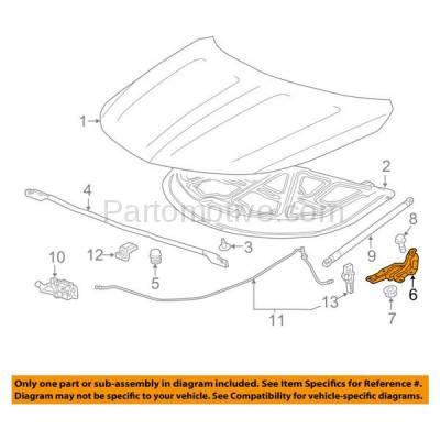 Aftermarket Replacement - HDH-1051R 2014-2018 Chevrolet Impala (Eco, LS, LT, LTZ, Premier) (2.4 & 2.5 & 3.6 Liter Engine) Front Hood Hinge Bracket Made of Steel Right Passenger Side - Image 3