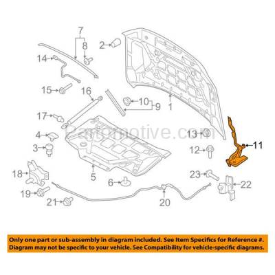 Aftermarket Replacement - HDH-1026R 2015-2018 Ford F-150 Pickup Truck (Standard, Extended, Crew Cab) Front Hood Hinge Bracket Steel Right Passenger Side - Image 3