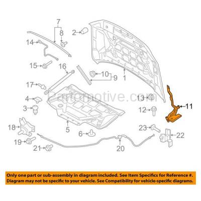 Aftermarket Replacement - HDH-1026L 2015-2018 Ford F-150 Pickup Truck (Standard, Extended, Crew Cab) Front Hood Hinge Bracket Steel Left Driver Side - Image 3