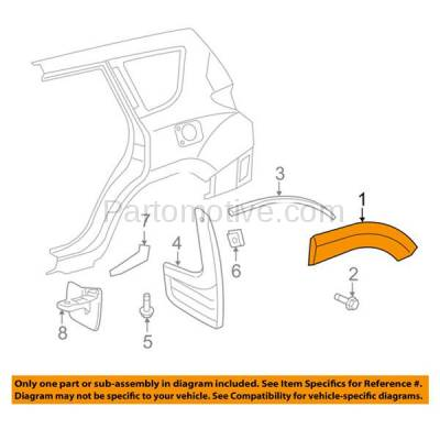 Aftermarket Replacement - FDT-1068L 06-12 RAV4 Rear Fender Molding Moulding Trim LH Driver Side TO1790103 756540R901 - Image 3
