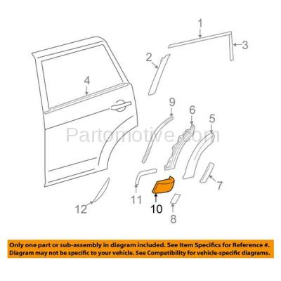 Aftermarket Replacement - FDT-1067R 06-12 RAV4 Rear Fender Front Section Molding Moulding Trim Right Side TO1607100 - Image 3
